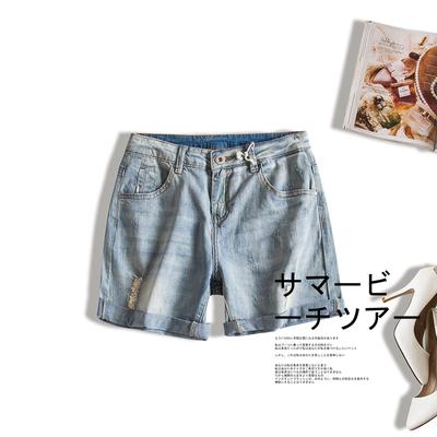 2017夏季新款韩版修身显瘦通勤百搭薄款休闲弹力卷边破洞牛仔短裤