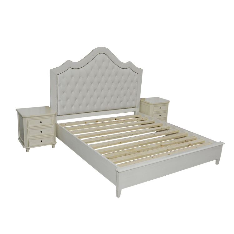 Liyuan beauty high-end hotels room furniture modern American country high on soft pull double bed