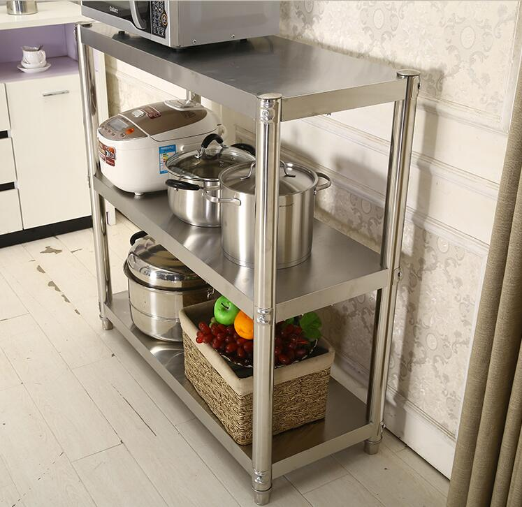 Three stainless steel shelf shelf floor layer thickened hotel kitchen microwave oven storage rack custom Hotel