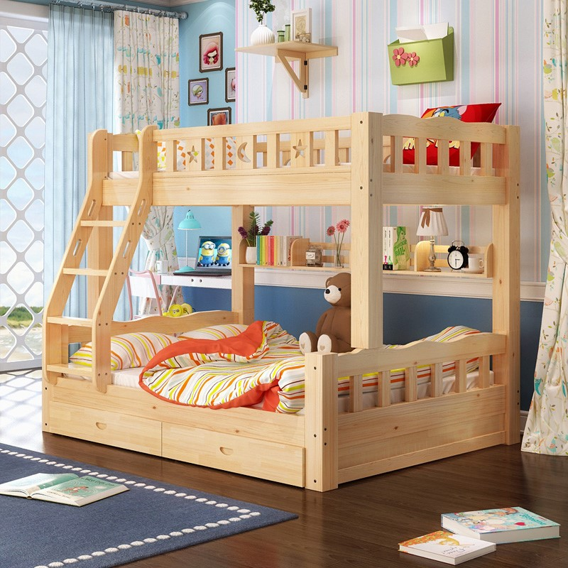 All solid wood bunk bed cot pine bunk bed double bed bed with combined bed desk adult female