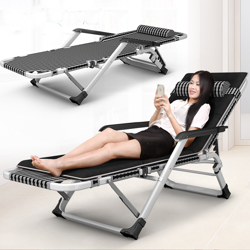 Folding bed, siesta bed, beach bed, beach chair, new economical thickening, strengthening backrest, simple office bedstead