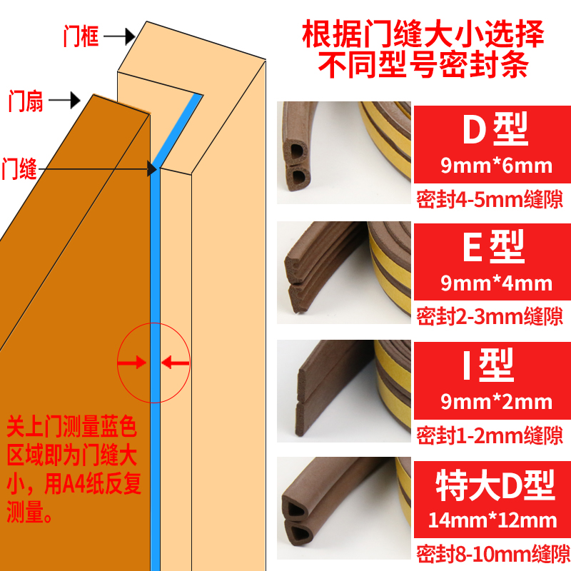 New door and window sealing strip, wooden door door, sound insulation anti-theft door, self-adhesive anti-collision adhesive strip, plastic steel window insulation package