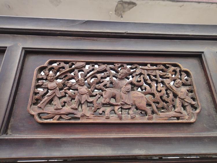 清代雕刻人物故事图 透雕雕花大床 古床