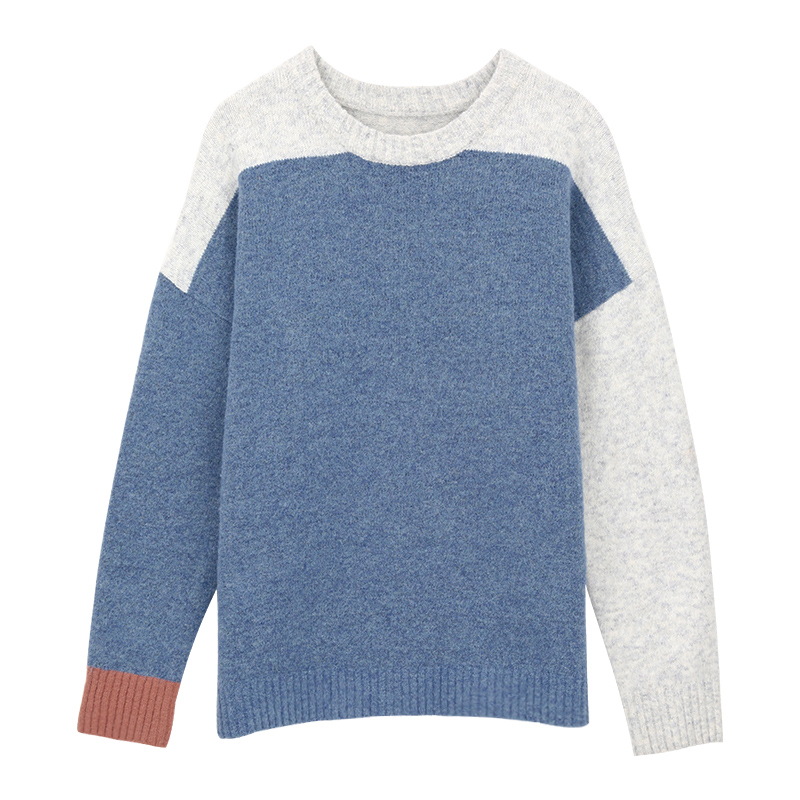 BIGKING Daikin new sweater, female loose sleeve head, autumn and winter fresh and small color collage students' bottoming sweater
