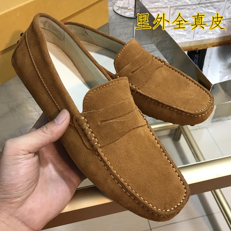 2017 το καλοκαίρι εξαερισμού παγωμένο δέρμα μπιζέλια παπούτσια αρσενικό σκάφος παπούτσια με τα παπούτσια με γούνα στρογγυλό κεφάλι