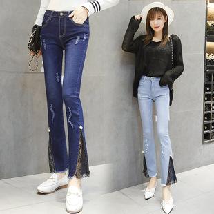 蕾丝花边破洞牛仔裤女2019春夏季新款九分裤韩版修身弹力微喇叭裤