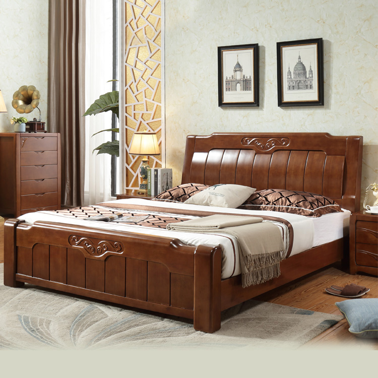 High grade all solid wood bed, 1.5/1.8 meters double oak bed, modern simple high box storage bed, master bedroom wedding bed
