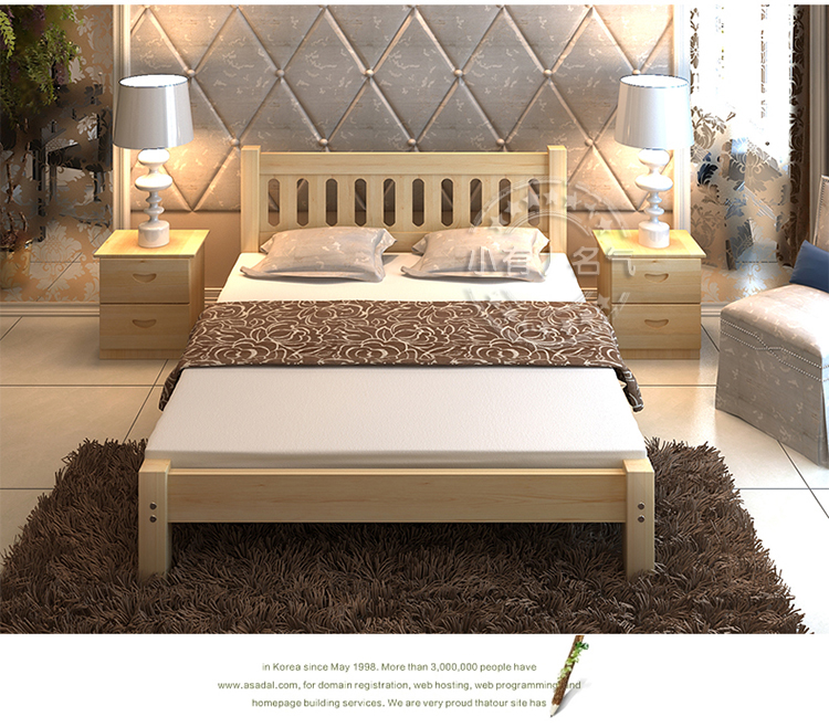Pure pine bed double bed single bed for children 1.8/1.5/1.9/1/1.2/1.35/1/ meters
