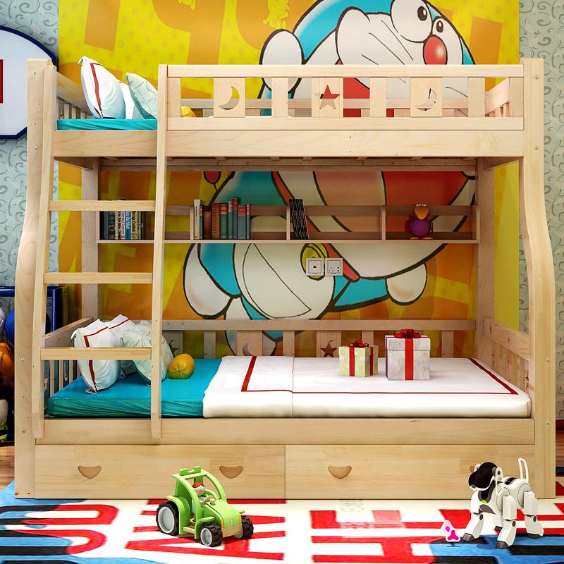 Holz aus dem Fenster doppelstöckigen Betten der Kinder der Mutter im Bett der Mutter Kiefer Bett und zwei schichten Bett Bett Betten für erwachsene