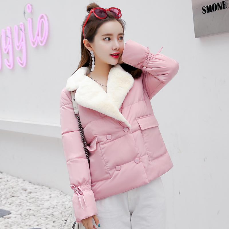 实拍羽绒服新款羽绒棉服韩版短款显瘦小款羊羔毛拼接棉袄棉衣6906