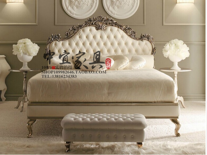 New classic wood carved double French American vintage old soft bed Jane modern bedroom bed