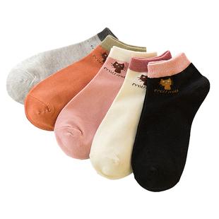 5双装  夏季袜子女低帮防滑学生短袜吸汗透气船袜浅口薄款韩版
