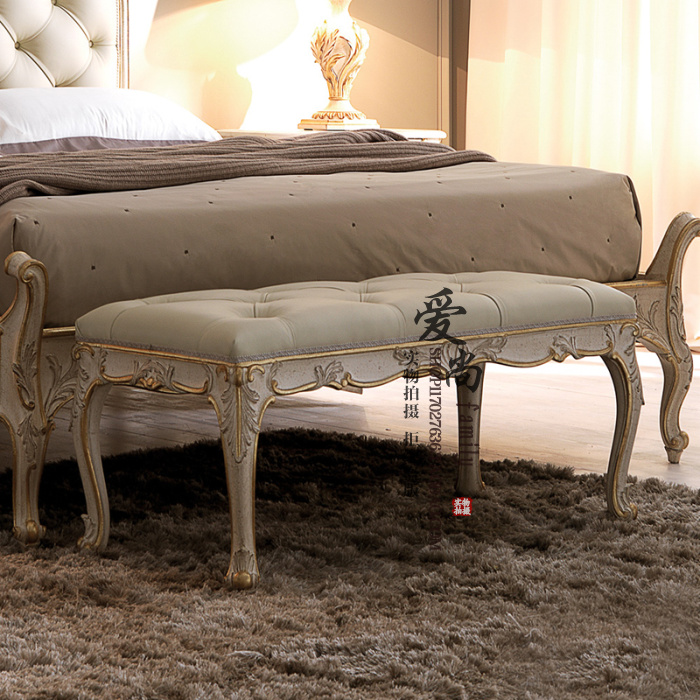European style antique, old carved, all solid wood bed, American style bed, new classical double bed, 1.51.8 solid wood soft bed