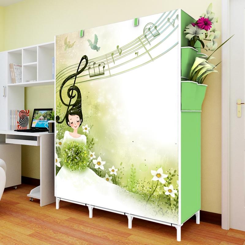 Simple de tissu garde - robe non en bois massif de pliage et assemblage de tissu de renforcement de la trompette un dortoir armoire portable