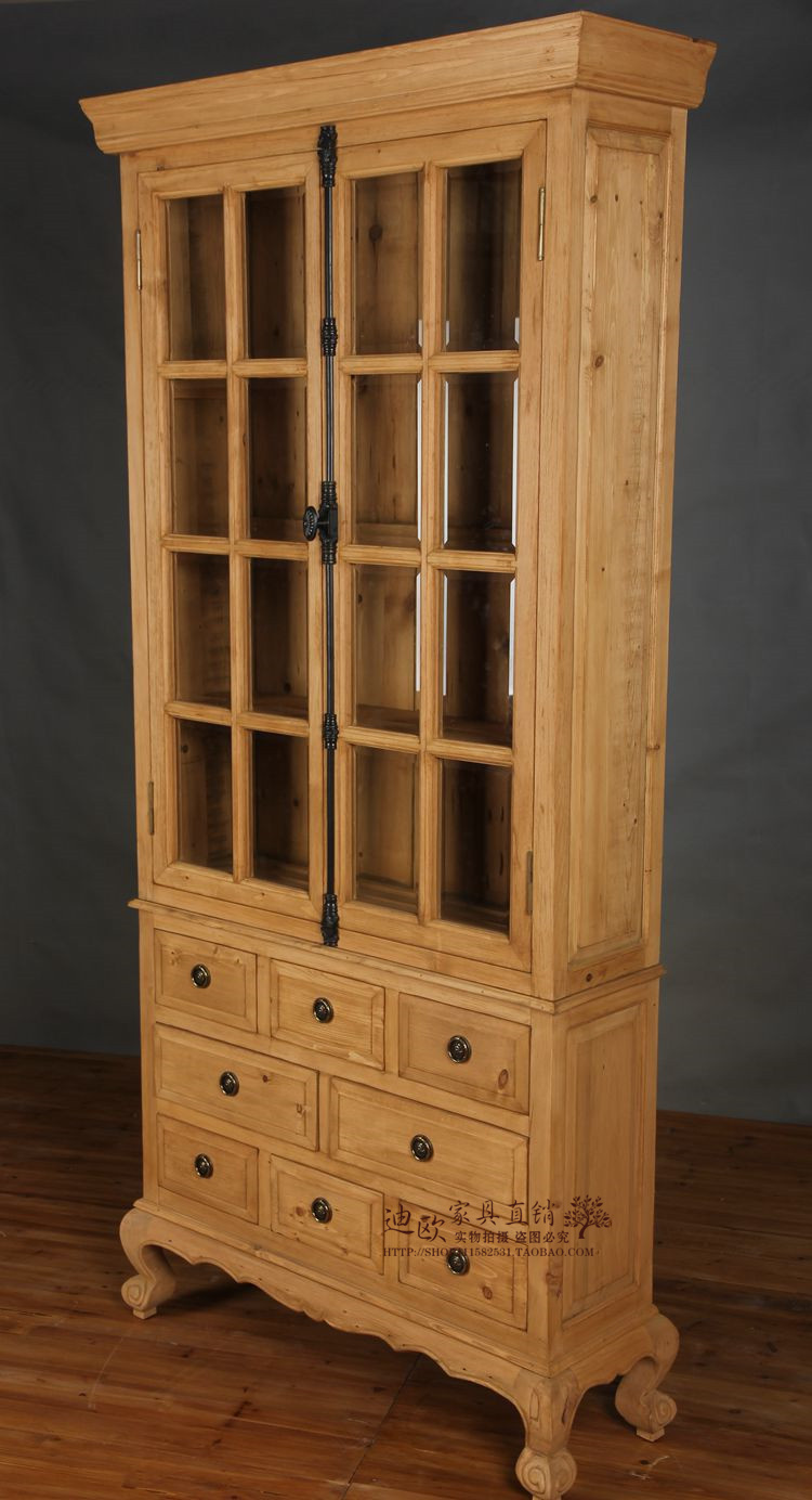 Solid wooden bookcase, American country oak world, locker side cabinet, French old red wine cabinet, glass double door lockers
