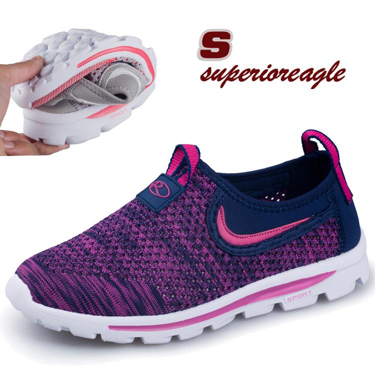 中年男女健步鞋网面透气中老年运动鞋软底防滑镂空网鞋编制女孕妇
