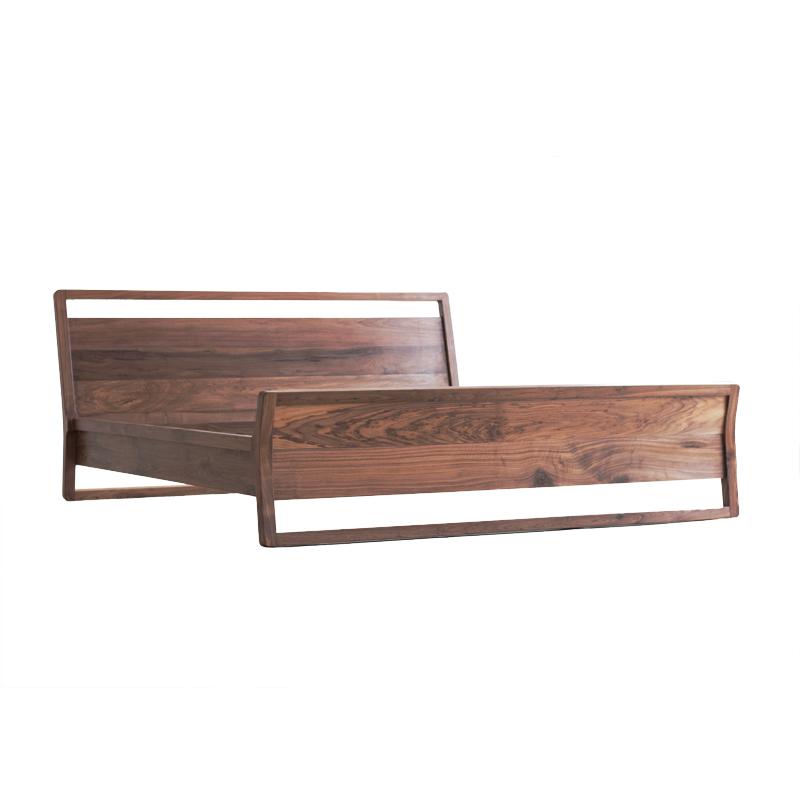 Oak black walnut all solid wood 1.51.8 meters double bed modern minimalist Japanese style master bedroom custom made
