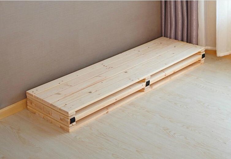 Folding bed thick pine wood skeleton single 1.5 double 1.8 meters widening hard tatami baby