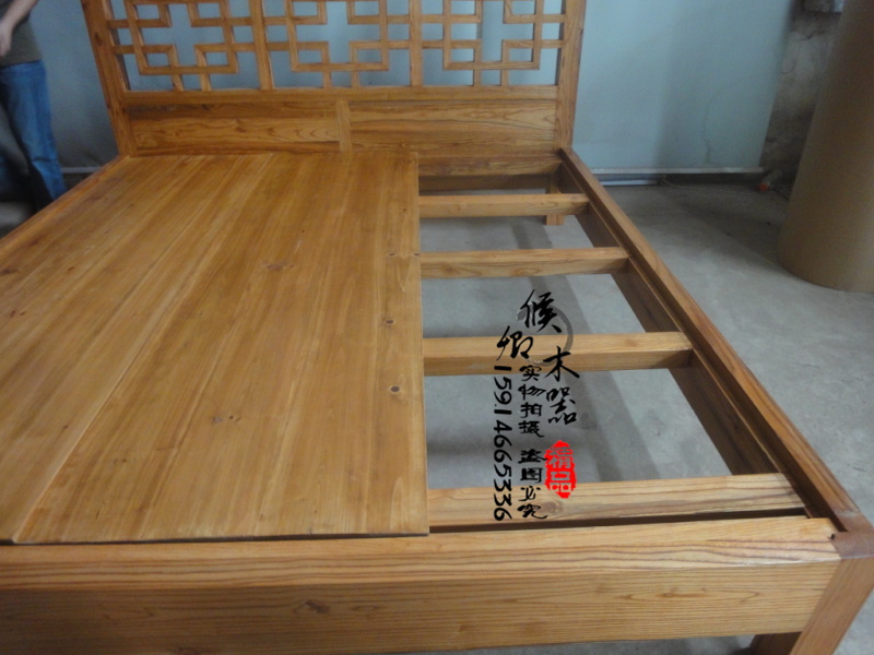 Wood custom furniture of Ming and Qing Dynasties imitation goonan elm double log words carved double bedroom