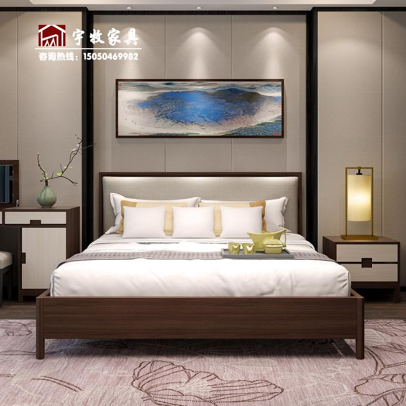 New Chinese solid wood double bed modern simple economic master bedroom, 1.8 meters small Huxing soft bed factory direct sales