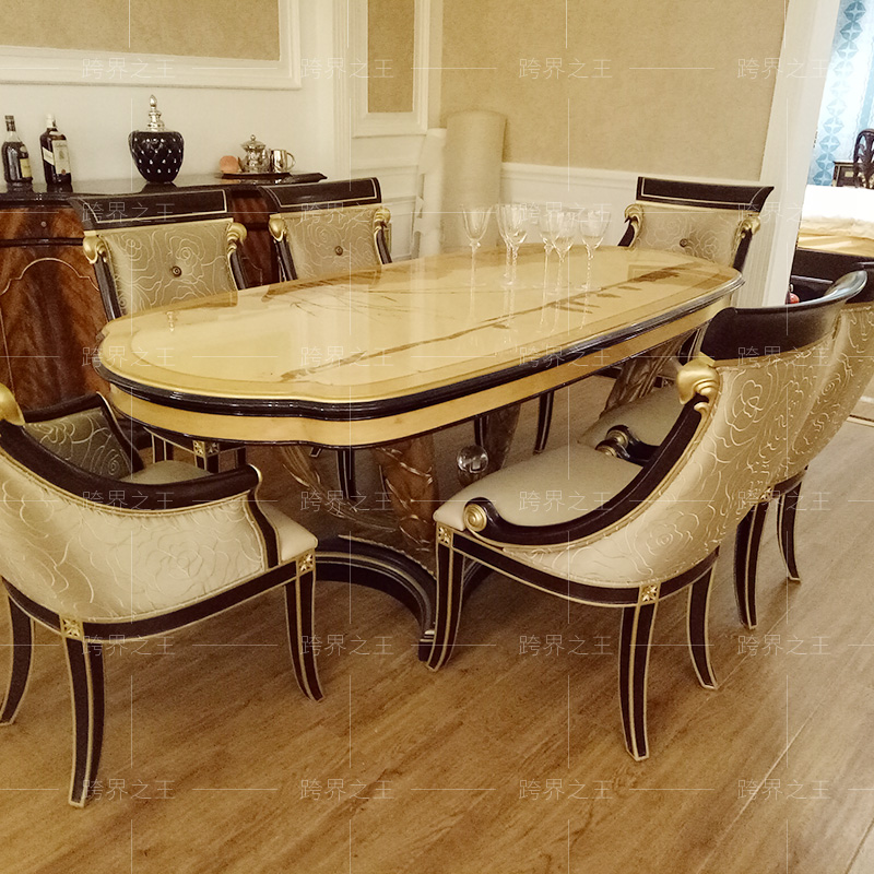 Lacasa furniture table, European rectangular dining table chair combination, 6 people, 8 people, solid wood assembly luxury
