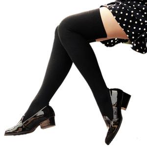 春夏新款学院风森系日系全纯棉黑色长筒显瘦过膝袜大腿高筒袜子女