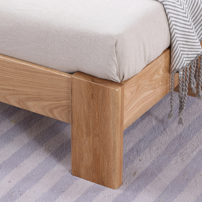 Oak bed 1.8 meters, modern minimalist solid wood bed, 1.5 meters log, double bed bedroom furniture, Nordic simplicity style