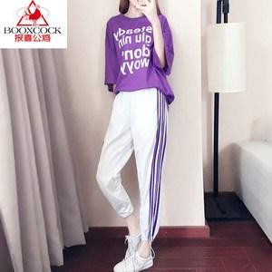 报喜公鸡休闲运动套装女夏季新款宽松女港味网红时尚阔腿裤两件套