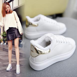 小白鞋女加绒女鞋2019冬季新款棉鞋韩版百搭厚底学生鞋运动鞋