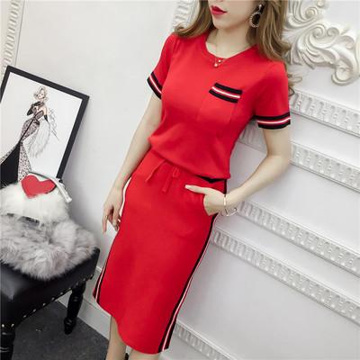 2021春夏款新款针织套装裙两件套中长款开叉包臀裙套装夏季连衣裙