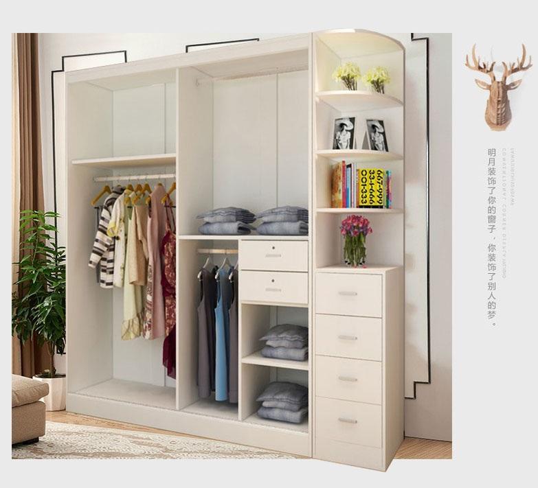 Porte coulissante de l'armoire monobloc de combinaison simple et moderne de nouveau ensemble grand placard bois porte coulissante de l'armoire