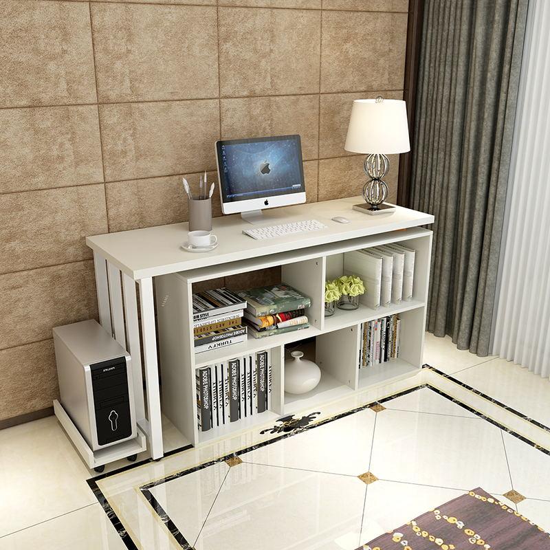 massivt træ bord, moderne og enkle multifunktionelle roterende elektriske computer skrivebord. på hjørnet af træ skrivebord reol kombination