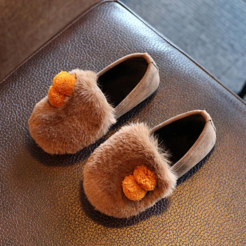 儿童棉鞋秋冬新款女童加绒公主鞋韩版女孩毛毛鞋宝宝鞋保暖豆豆鞋