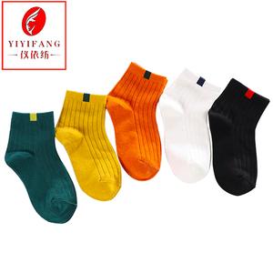 品牌女袜子纯棉正品仪依纺日系全棉韩版运动吸汗棕色袜子女中筒袜
