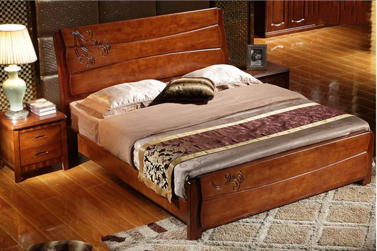 Chongqing solid wood bed, Chinese style furniture, big bed, 1.8 meter oak bed, 1.5 meters wedding bed, all solid wood bed double bed