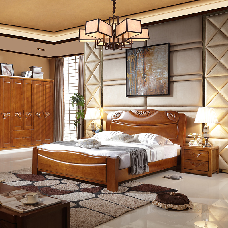 All solid wood bed, 1.8 meters double bed, modern Chinese solid wood bed, high box storage bed, oak bed in bed