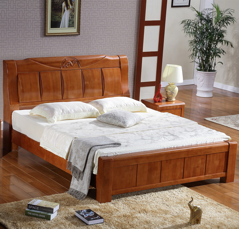 All solid wooden bed oak Walnut High box bed 1.8 meters 1.5 meters storage bed new Chinese double bag mail