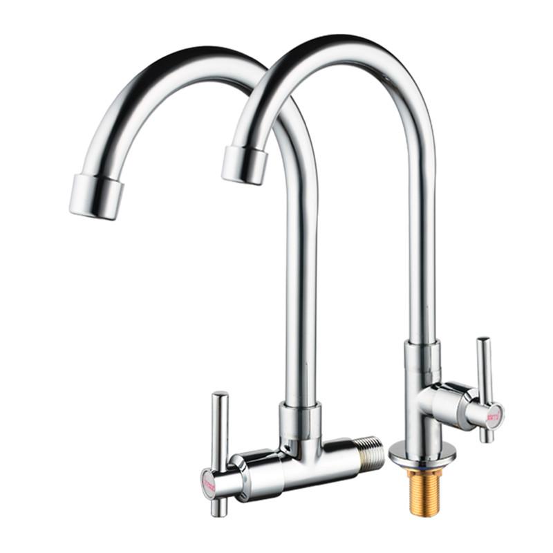 台所单冷蛇口の野菜を洗うたらい洗濯池に壁式水槽洗面器全銅セラミック芯縦型蛇口