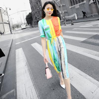 2017春夏季新款女装圆领五分袖修身印花连衣裙波西米亚雪纺长裙潮