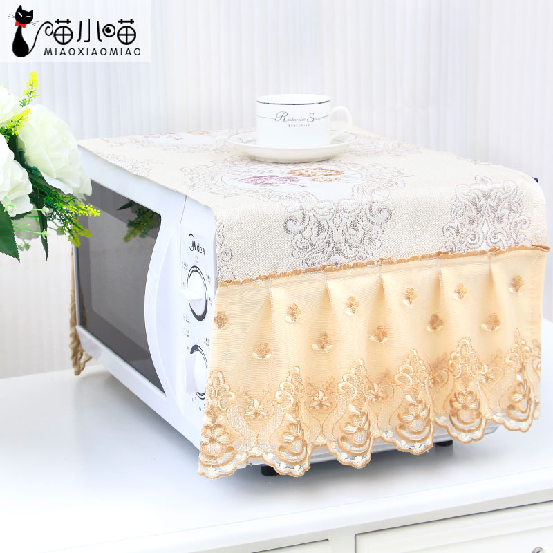European style kitchen microwave hood waterproof, waterproof, Galanz home beautiful garden cloth lace dust cover