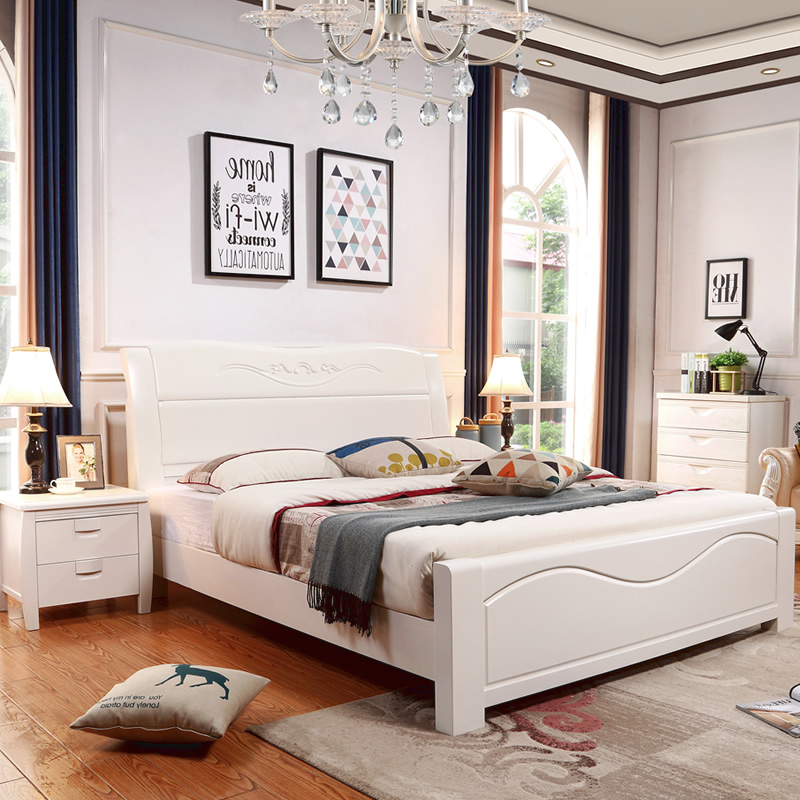 Master bedroom, solid wood bed, 1.21.35 meter bed, 1.51.8m white storage, high box bed, single double oak