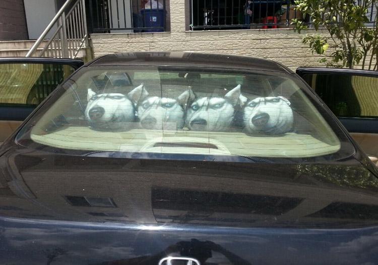 自動車のヘッドレスト1首の枕漫画の動物の犬と猫可愛いクッション車内アクセサリー車用の竹の炭の首の枕夏用