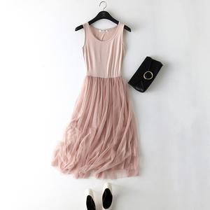 春季吊带网纱打底裙宽松内搭长裙弹力大码蕾丝背心连衣裙女25