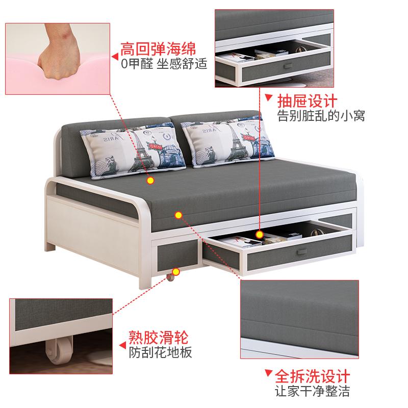 小さいタイプの部屋は布製ソファベッドルームとペアは1メートルのメートルの現代的な簡約の多機能両用ベッド