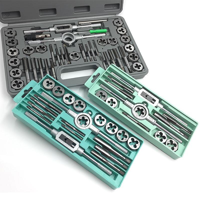 TAP morir conjunto mano golpeando la cabeza de llave de hardware manual de herramientas set dental métrica circular.