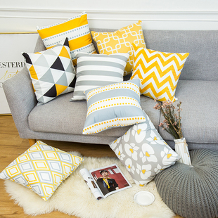 暖色系黄灰色北欧几何现代简约抱枕条纹格子客厅沙发靠枕靠垫