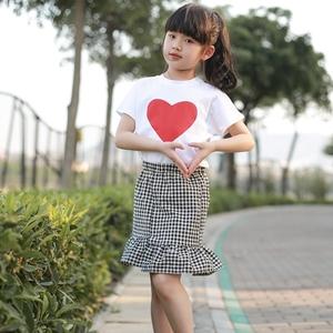 女童鱼尾裙套装2018新款韩版夏中大童时髦洋气夏季纯棉短袖两件套