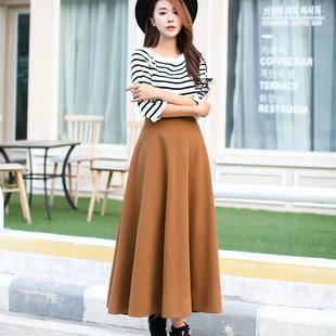 毛呢长裙加厚秋冬裙半身裙纯色半身长裙中长款呢子大摆裙子A字裙