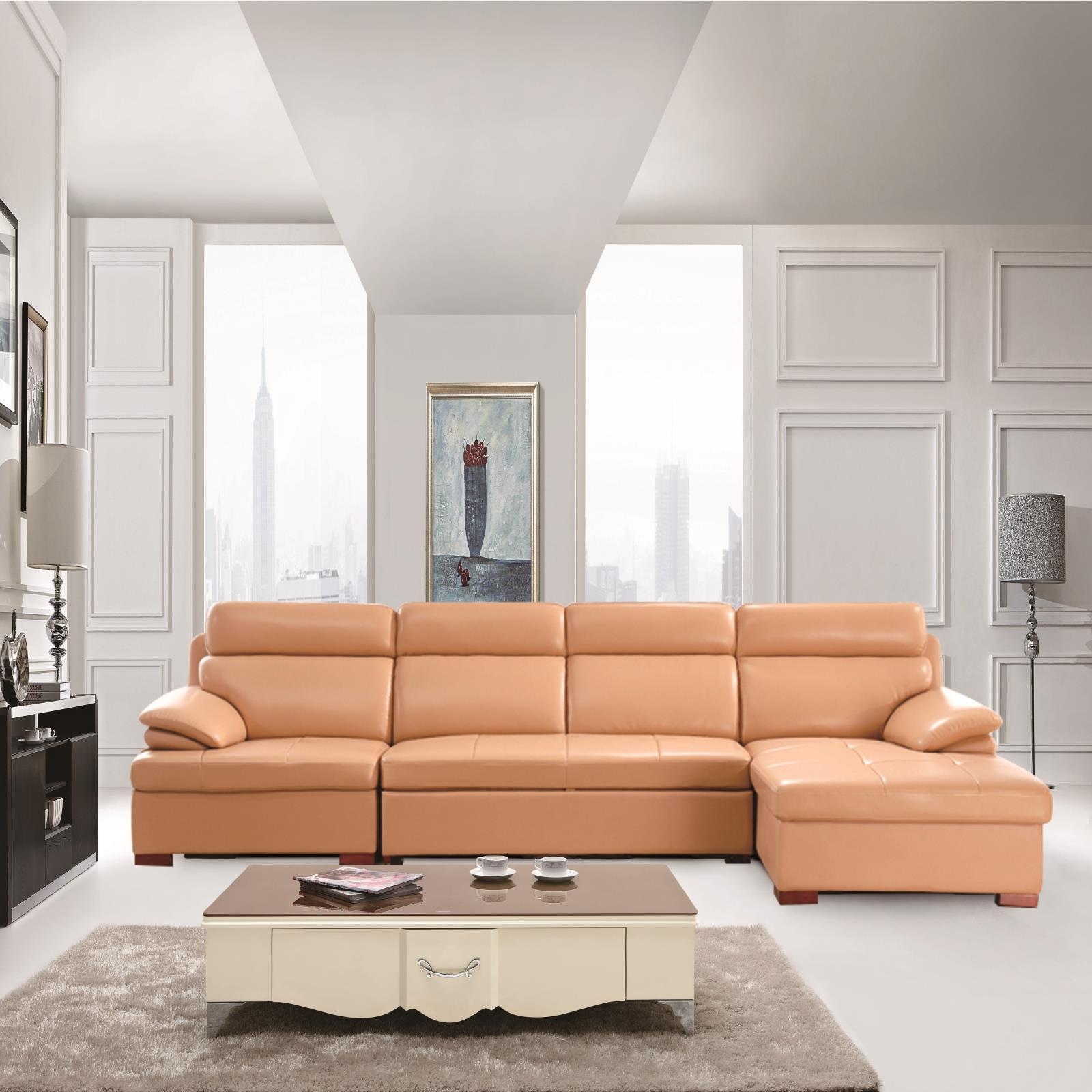 δέρμα δερμάτινο καναπέ κρεβάτι τύπου L διπλής χρήσης πολλαπλών λειτουργιών αποθήκευσης μικρό διαμέρισμα τράβα ένταση 3 λίγο βασιλικό γωνία συνδυασμένη