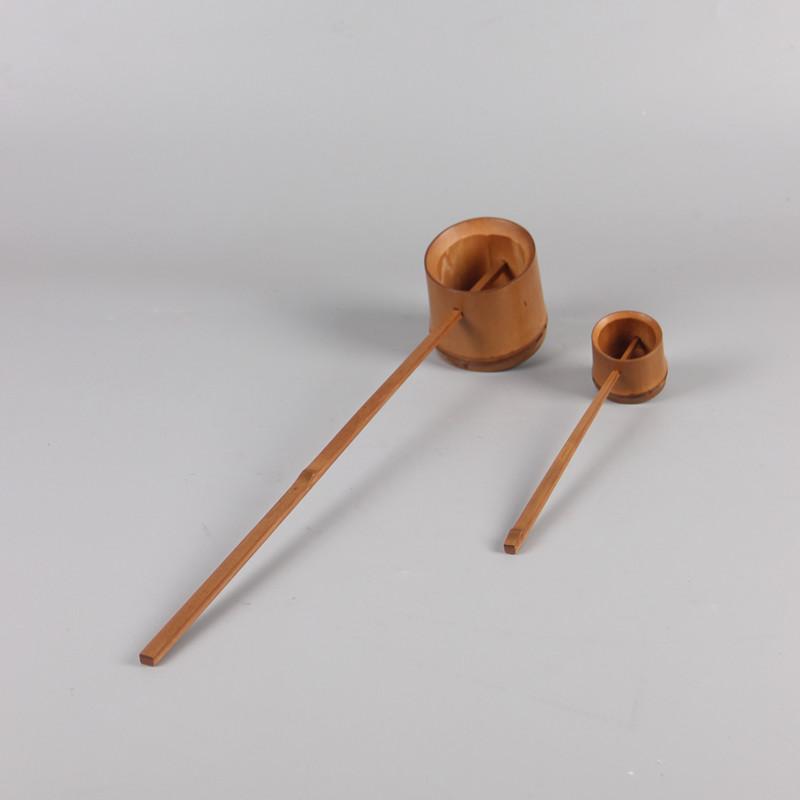 碳化水舀小號竹根長柄茶勺茶道具竹制水勺日式分茶勺澆花水瓢打舀酒勺器